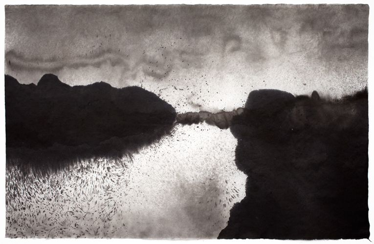 Sky Pape Bellagio Suite 4961 ink drawing on kozo paper
