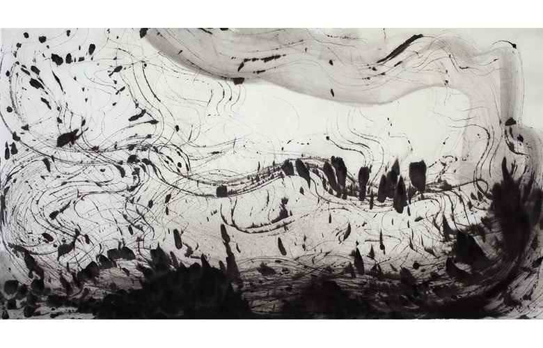 Sky Pape Ligurian Suite 9447 ink drawing on hanji paper